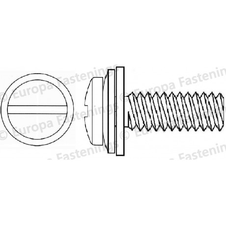 Sems Screw Pan (Din 7985) Slotted c/w Conical Spring (Din 6908) & Plain (Din 6092A) Washer